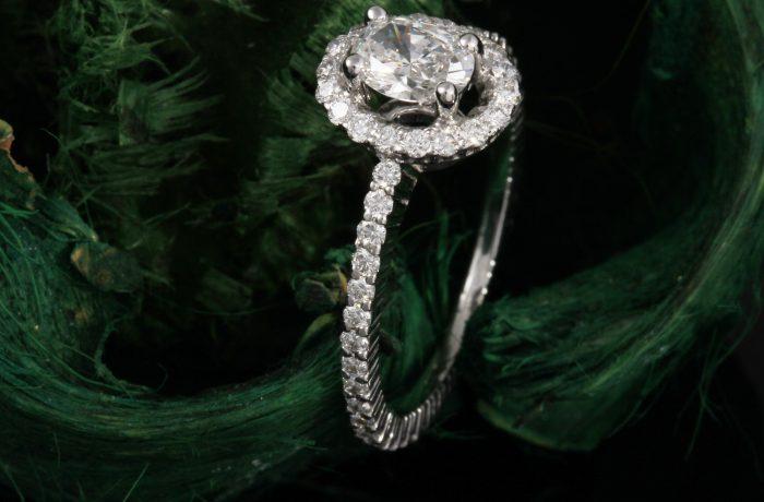 Custom Oval Halo Engagement Ring