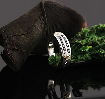 custom design black diamond men's white gold wedding band