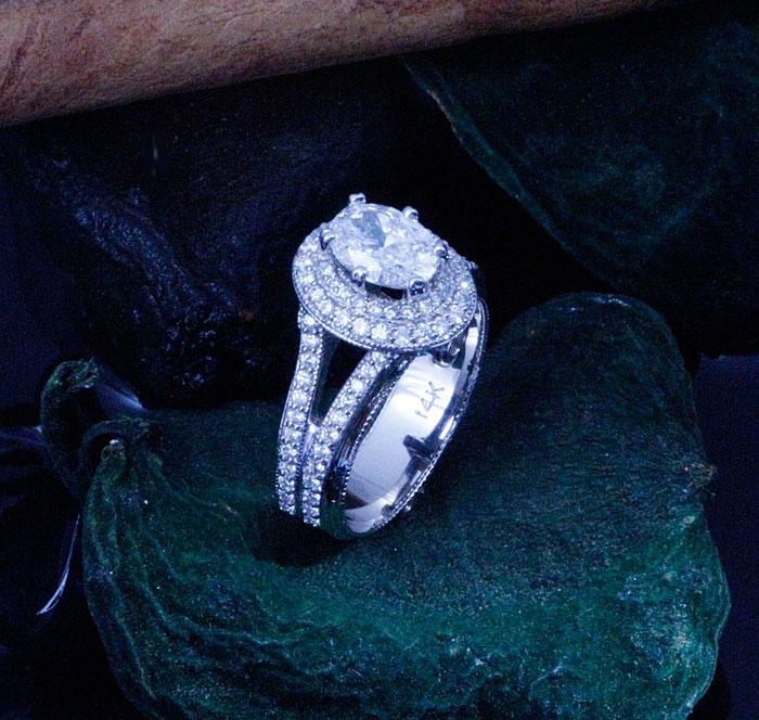 Custom Double Oval Halo Diamond Engagement Ring