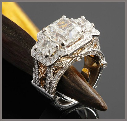 engagement wedding ring cushion cut 3 three stone vintage two tone yellow white gold