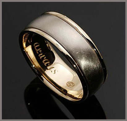 wedding mens band engraving two tone white yellow gold satin high polish finish