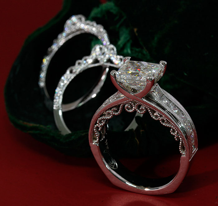 Custom Diamond Engagement Ring With Bands