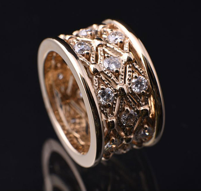 Wide Lace Diamond Band