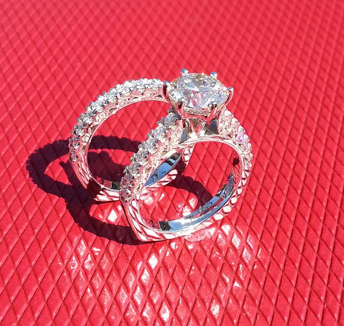 Custom Diamond Engagement Ring and Band