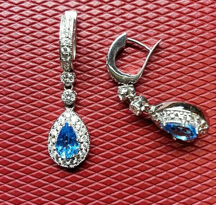 Custom Blue Topaz Earrings