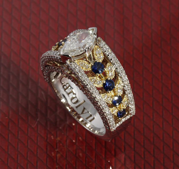 Custom Diamond Marquise And Sapphire Ring