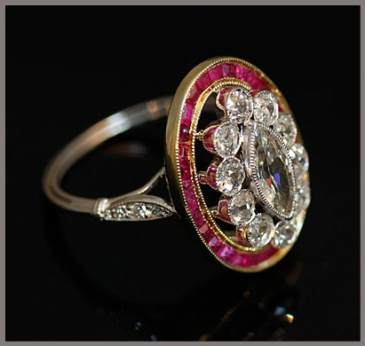 restored vintage ruby halo and diamond ring marquise center diamond