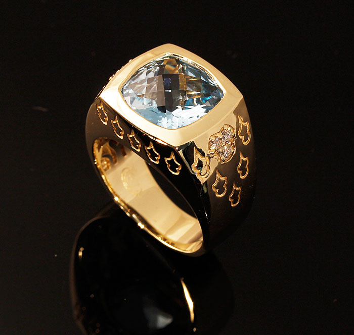 Custom Blue Topaz Mens Ring