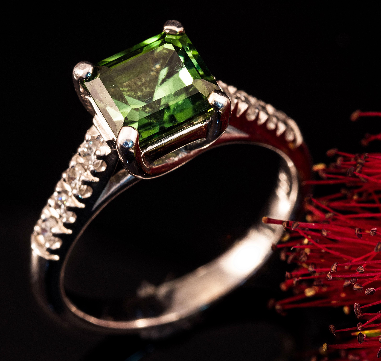 Green Tourmaline Diamond Ring