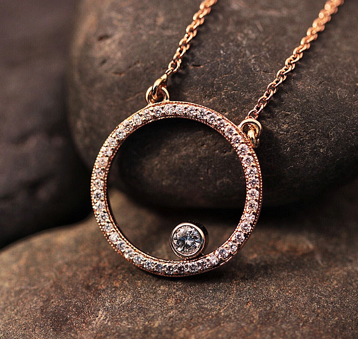 Rose Gold Diamond Eternity Necklace