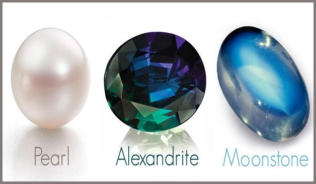 June's Birthstones:  Pearl, Moonstone & Alexandrite