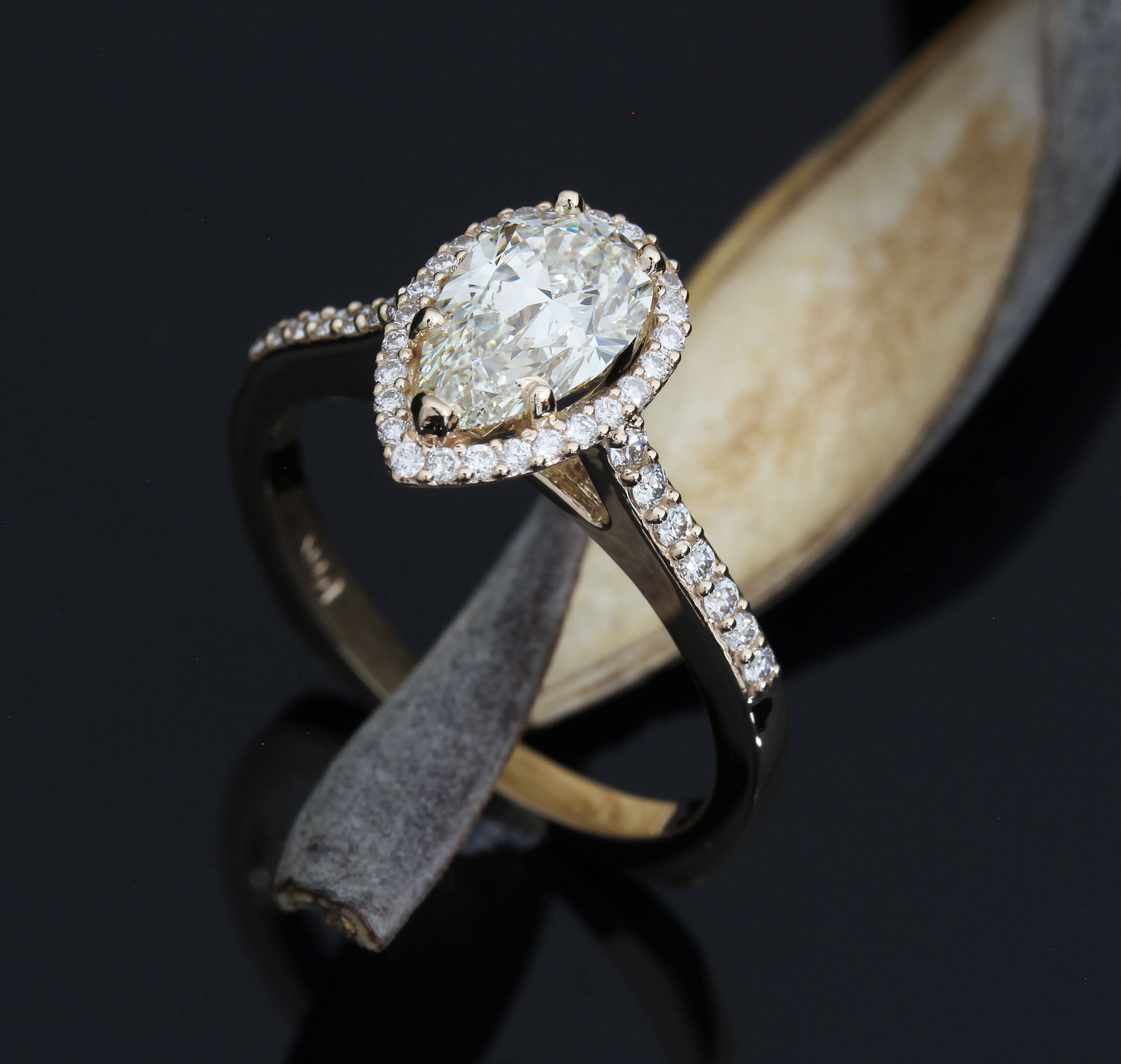Custom Pear Diamond Engagement Ring