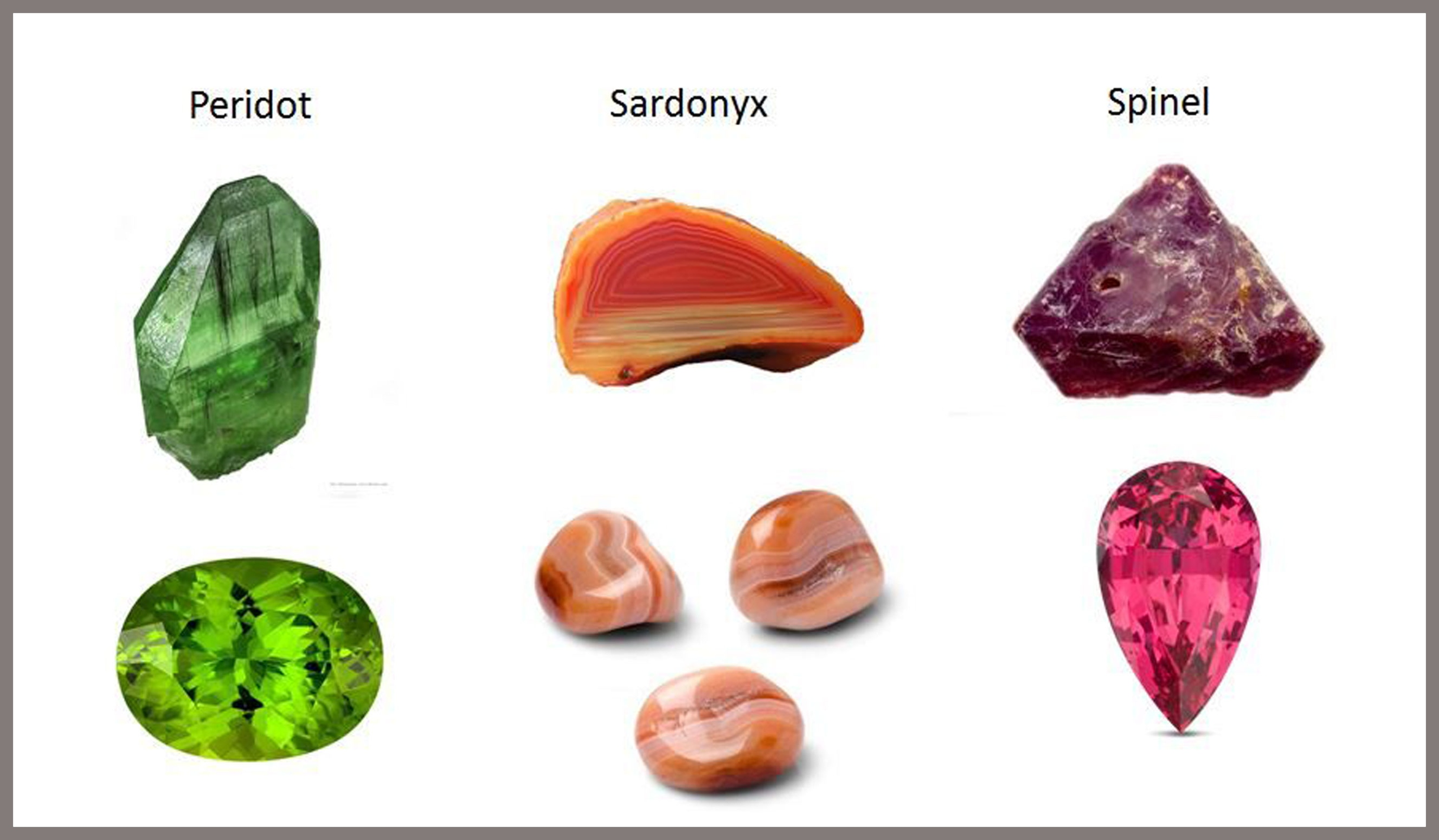 August Birthstones: Sardonyx, Peridot & Spinel
