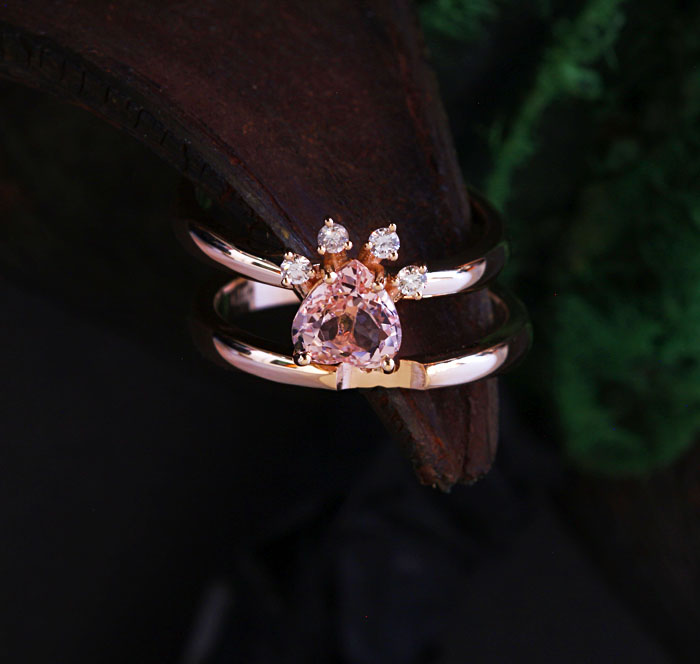 CUSTOM PAW MORGANITE RING