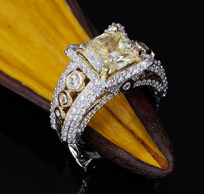 Custom Yellow Diamond Engagement Ring