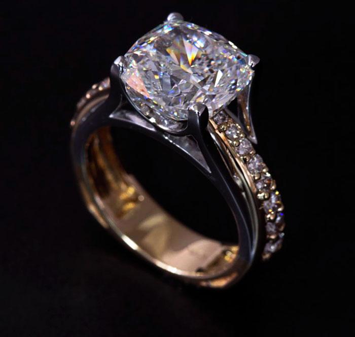 custom radiant diamond engagement ring