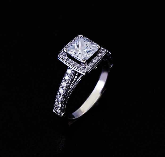 custom princess diamond engagement ring