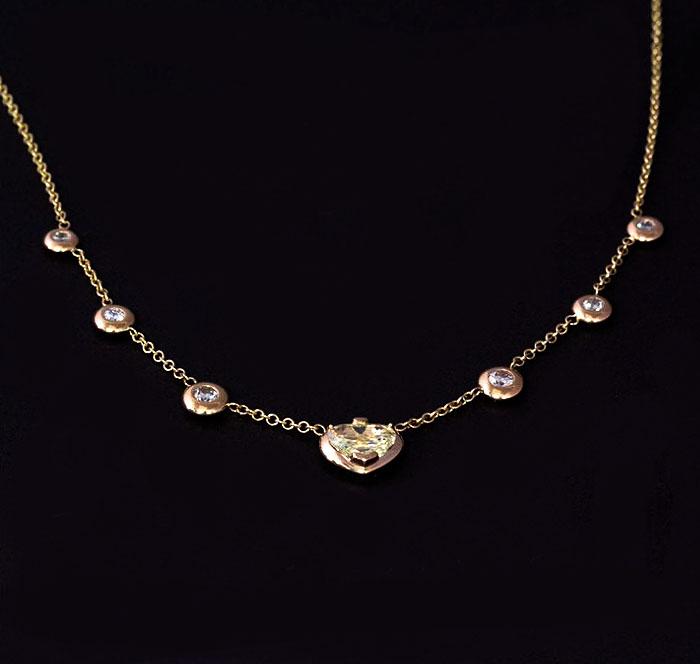 custom yellow diamond heart necklace