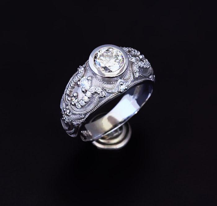 custom vintage diamond engagement ring