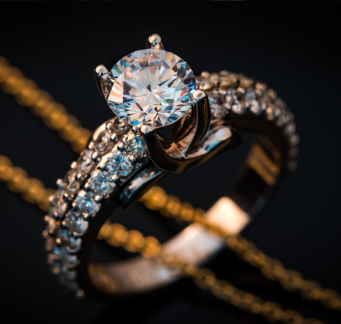 two row diamond engagement ring