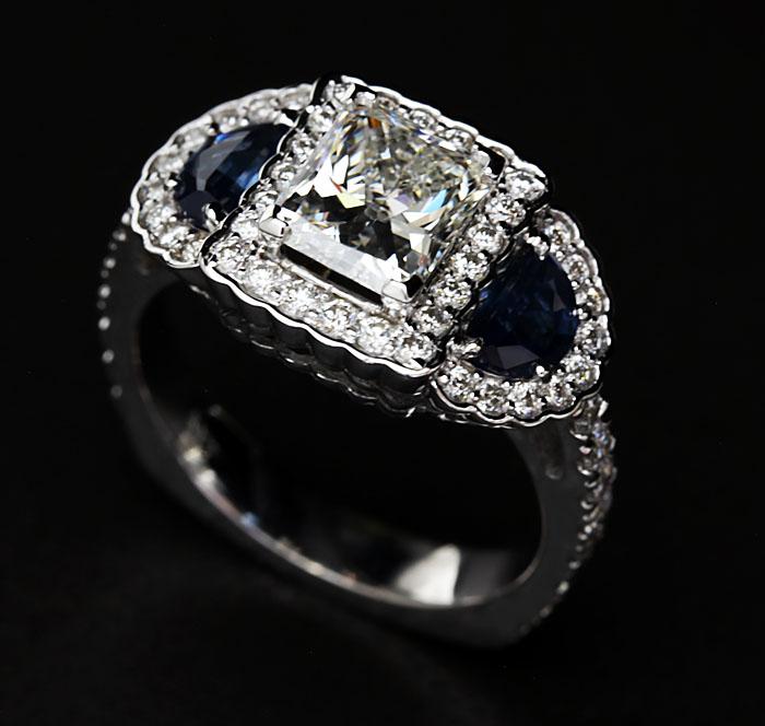 custom diamond and sapphire ring