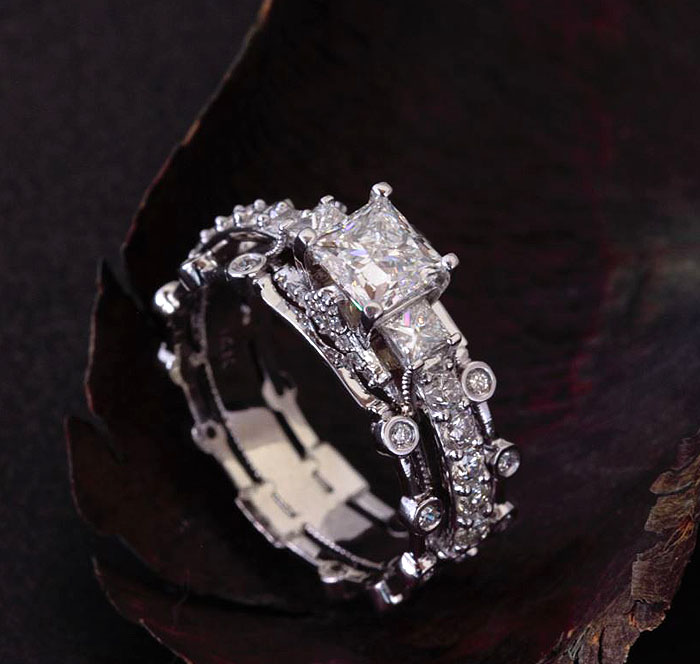 CUSTOM ENGAGEMENT RING WITH BANDS