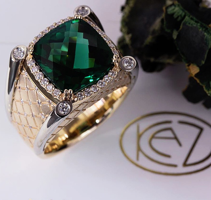 CUSTOM DIAMOND TOURMALINE RING