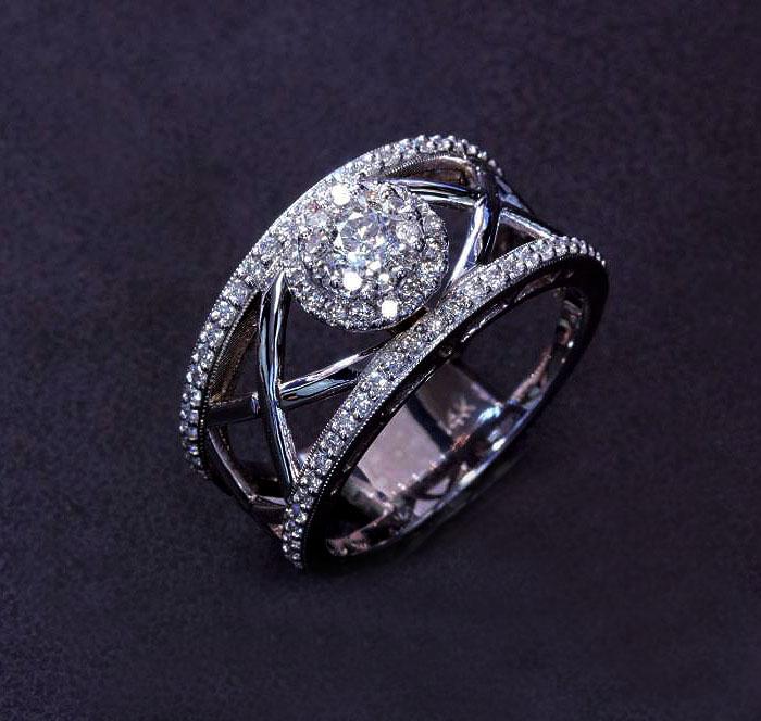 custom diamond cluster ring