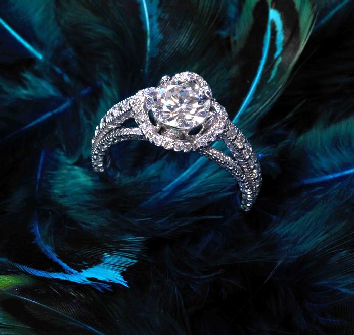 Custom Lotus Flower Engagement Ring