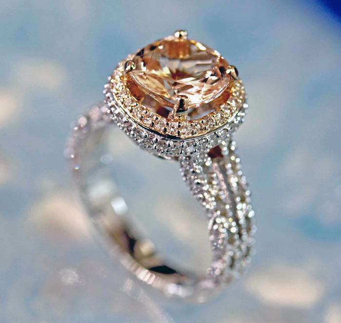 Custom Morganite Two Toned Engagement Ring
