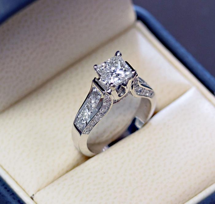 Custom Princess Cut 14K White Gold